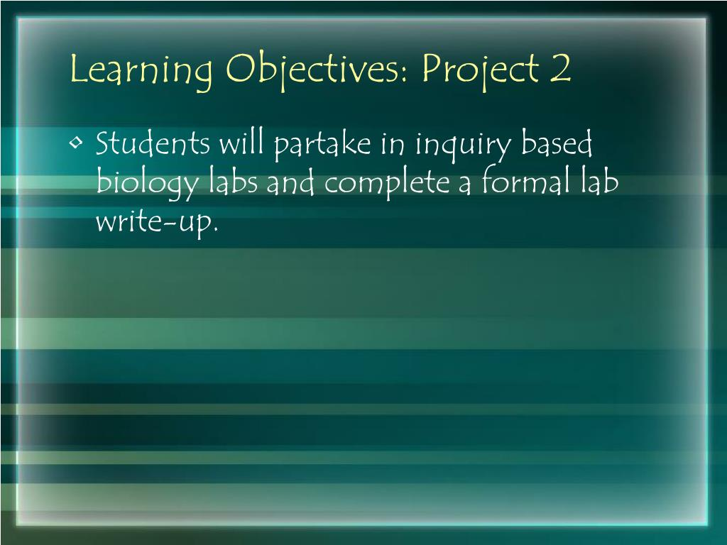 Learning Objectives: Project 2