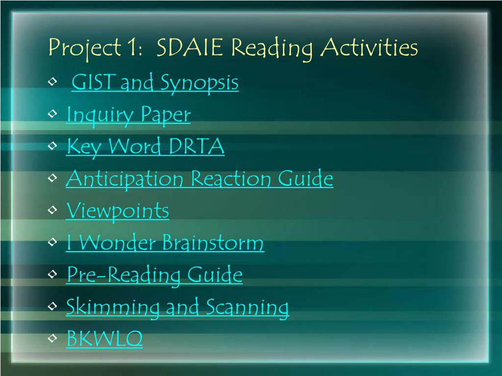 Project 1:  SDAIE Reading Activities