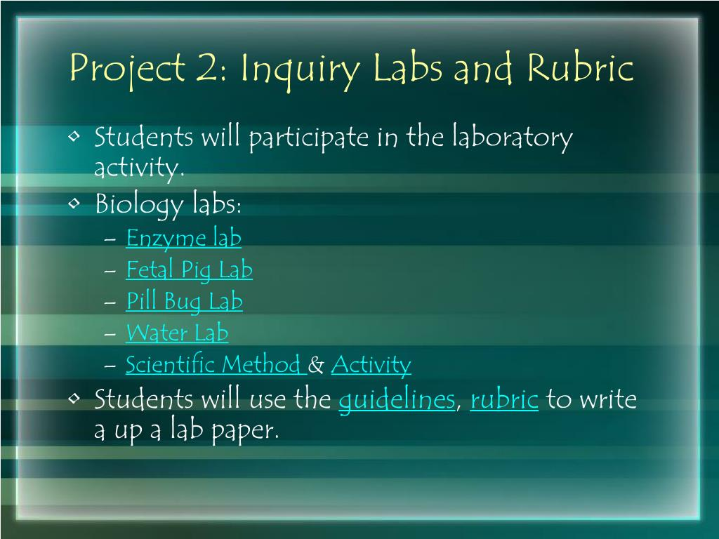 Project 2: Inquiry Labs and Rubric