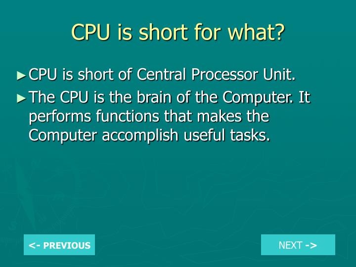 CPU is short for what?
