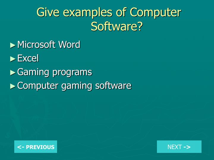 Give examples of Computer Software?