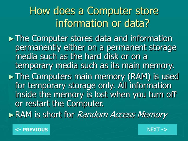 How does a Computer store information or data?