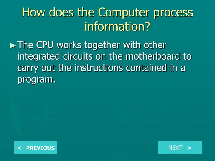 How does the Computer process information?