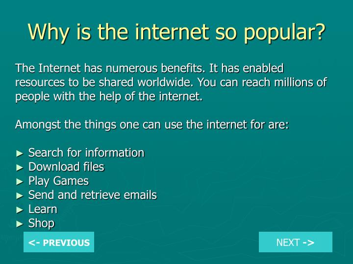Why is the internet so popular?
