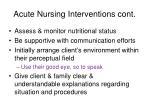 acute nursing interventions cont