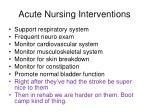 acute nursing interventions