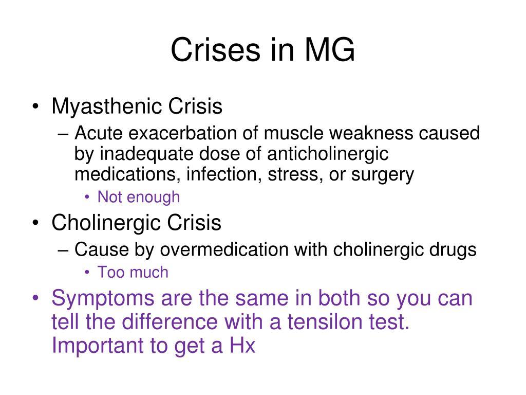 Crises in MG