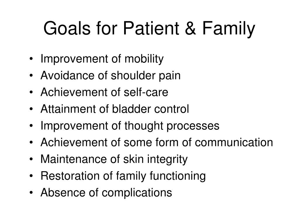 Goals for Patient & Family