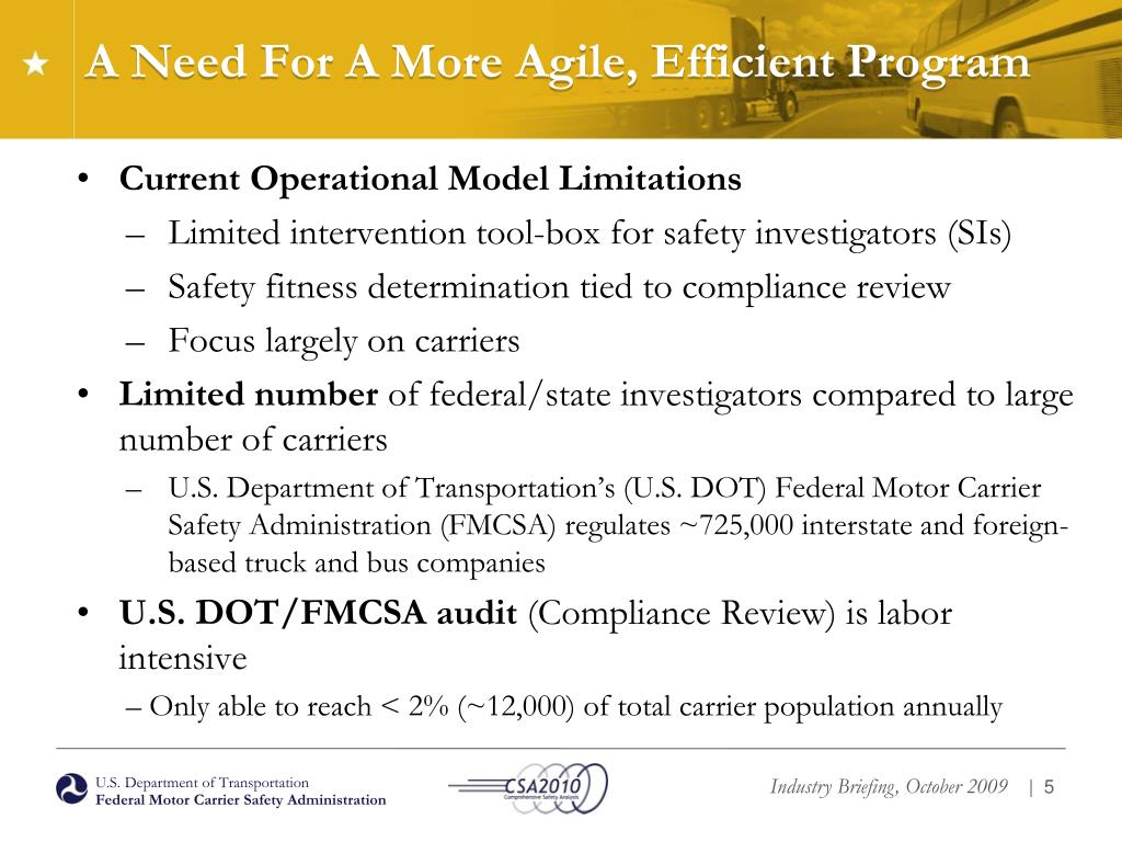 A Need For A More Agile, Efficient Program
