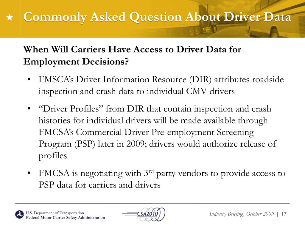 Commonly Asked Question About Driver Data