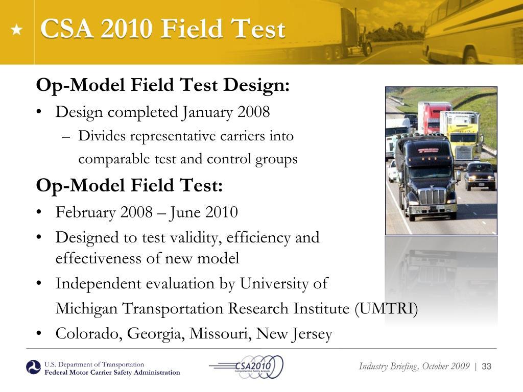 CSA 2010 Field Test