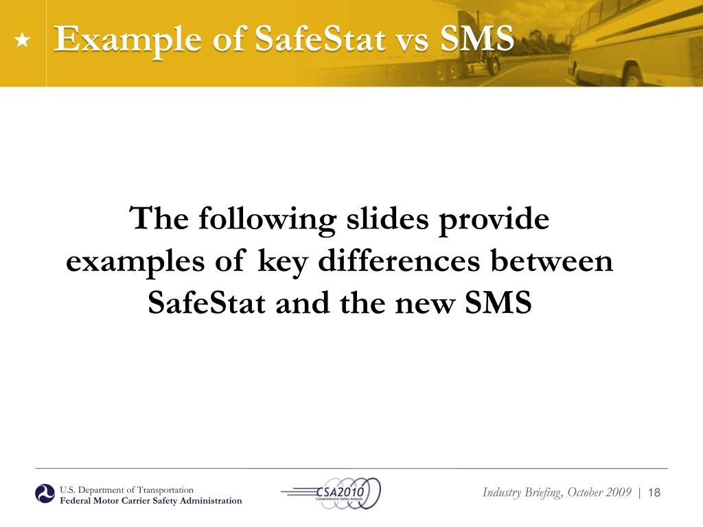Example of SafeStat vs SMS