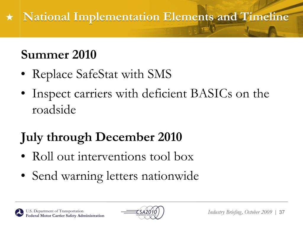 National Implementation Elements and Timeline