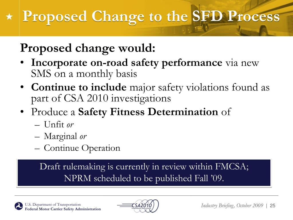 Proposed Change to the SFD Process