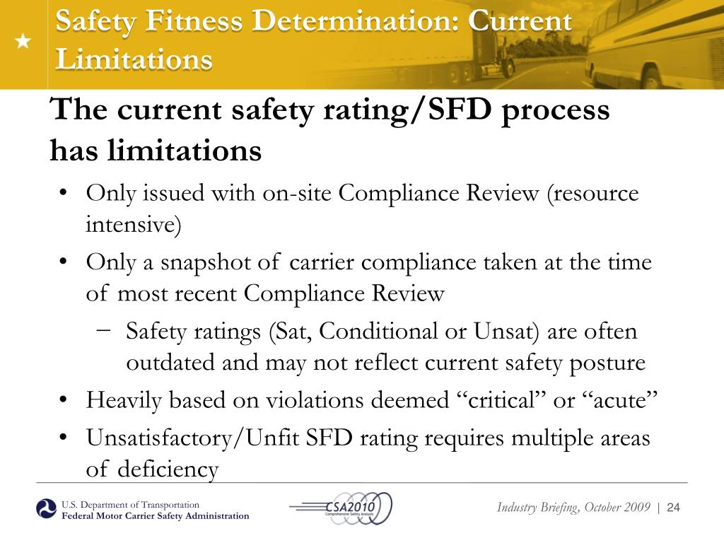 Safety Fitness Determination: Current Limitations