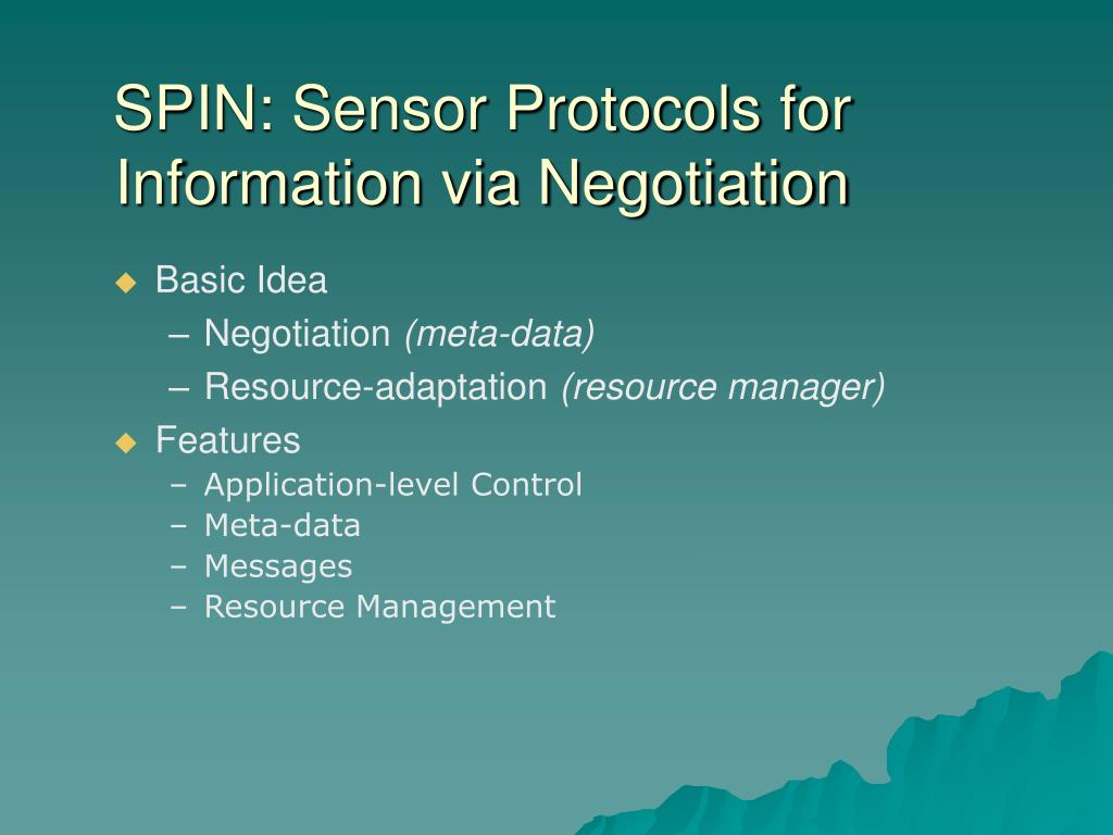 SPIN: Sensor Protocols for Information via Negotiation