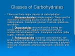 classes of carbohydrates