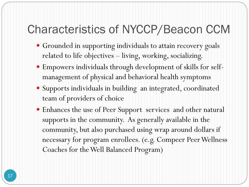 Characteristics of NYCCP/Beacon CCM