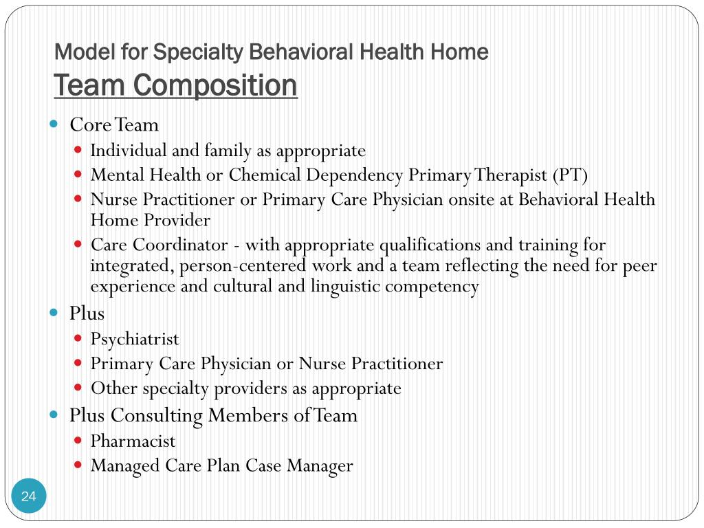 Model for Specialty Behavioral Health Home