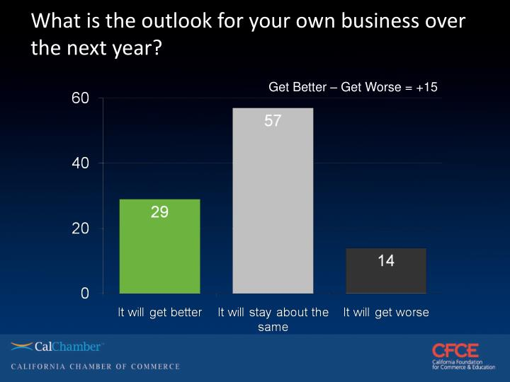 What is the outlook for your own business over the next year?