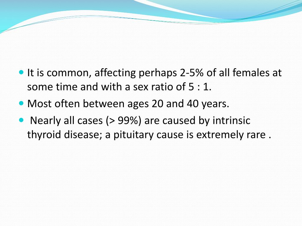 It is common, affecting perhaps 2-5% of all females at some time and with a sex ratio of 5 : 1.