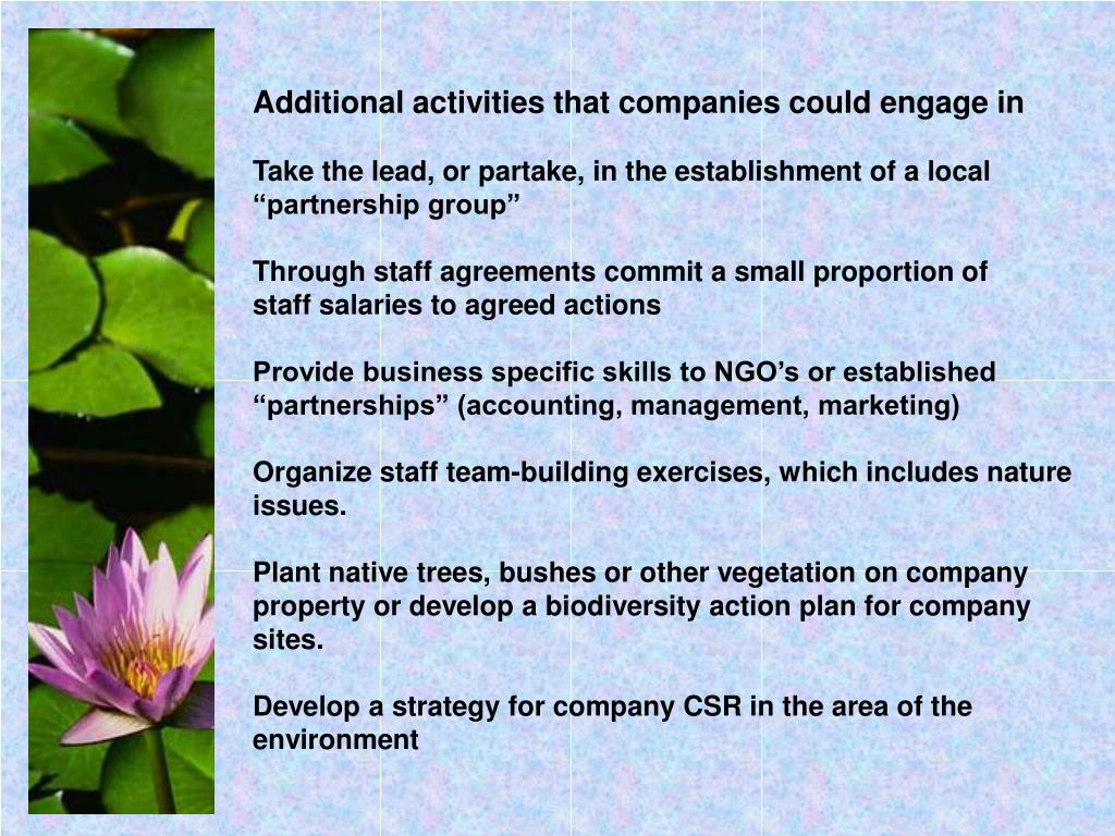 Additional activities that companies could engage in