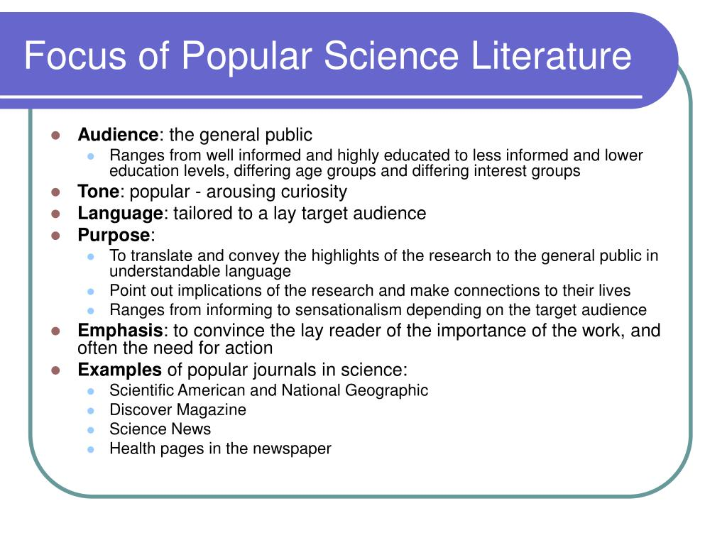 Focus of Popular Science Literature