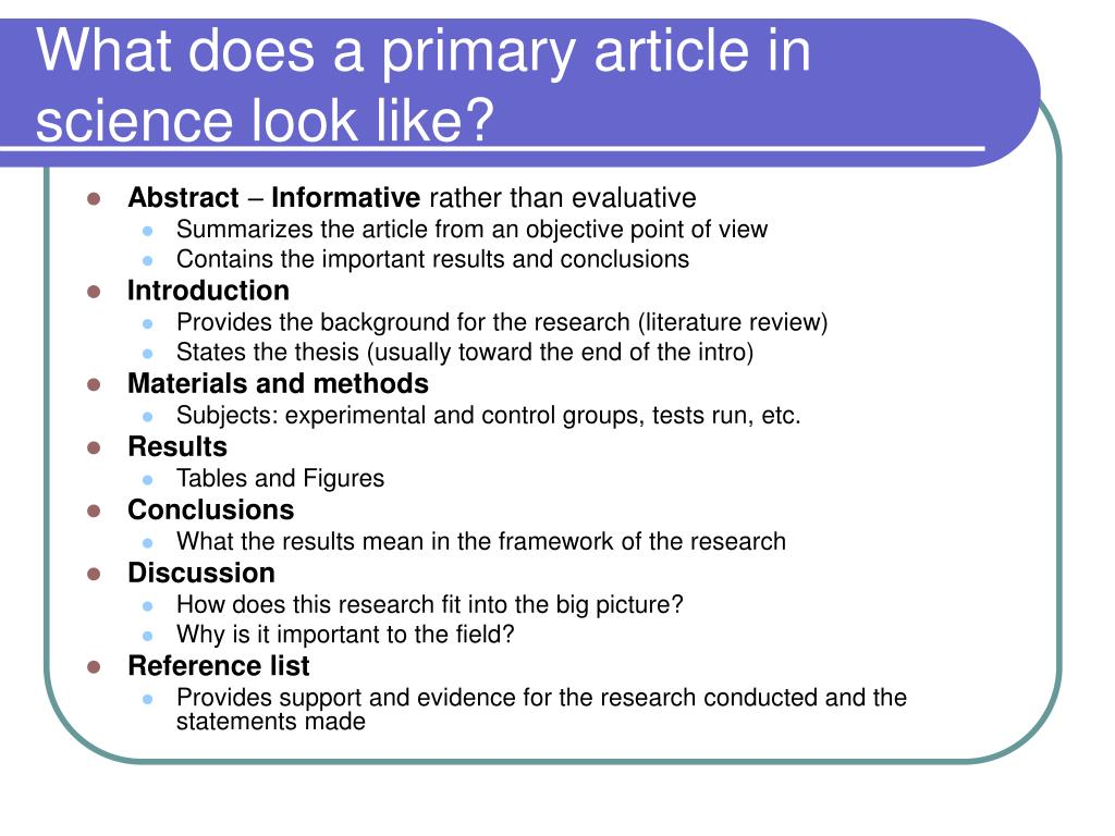 What does a primary article in science look like?