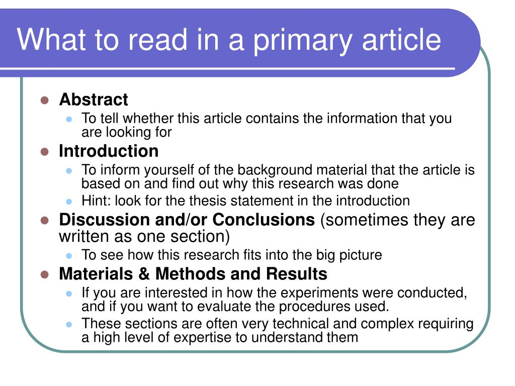 What to read in a primary article