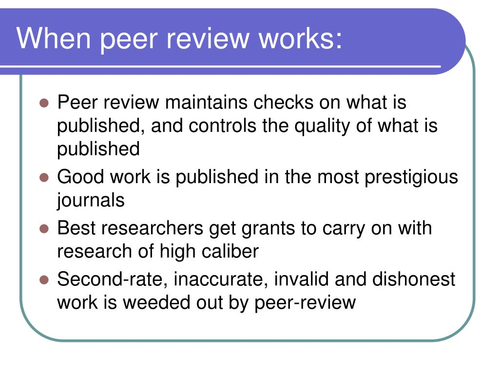 When peer review works: