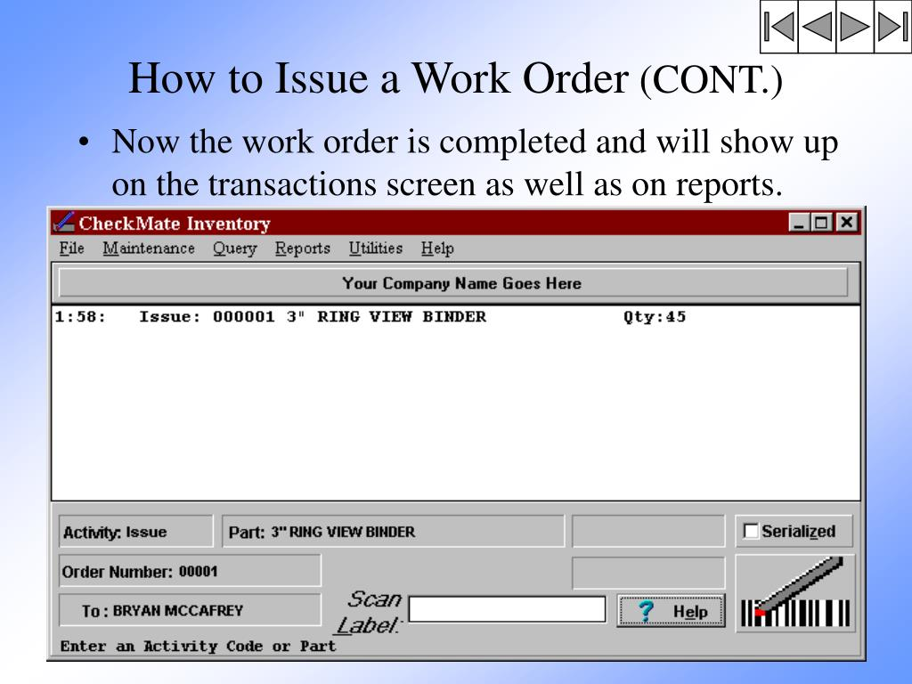 How to Issue a Work Order
