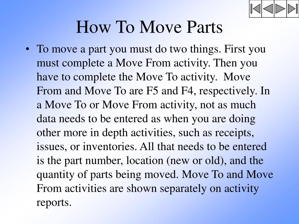 How To Move Parts