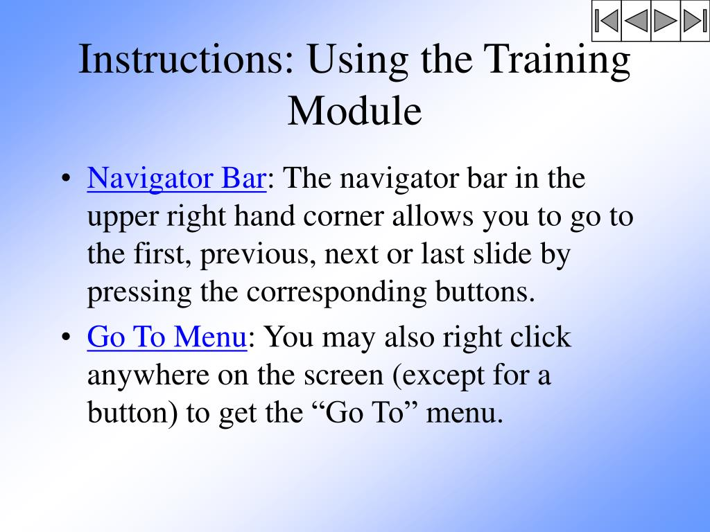 Instructions: Using the Training Module