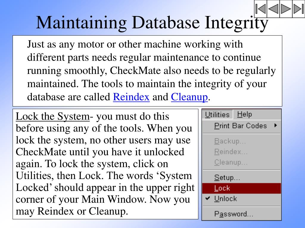 Maintaining Database Integrity