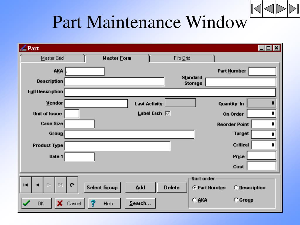 Part Maintenance Window