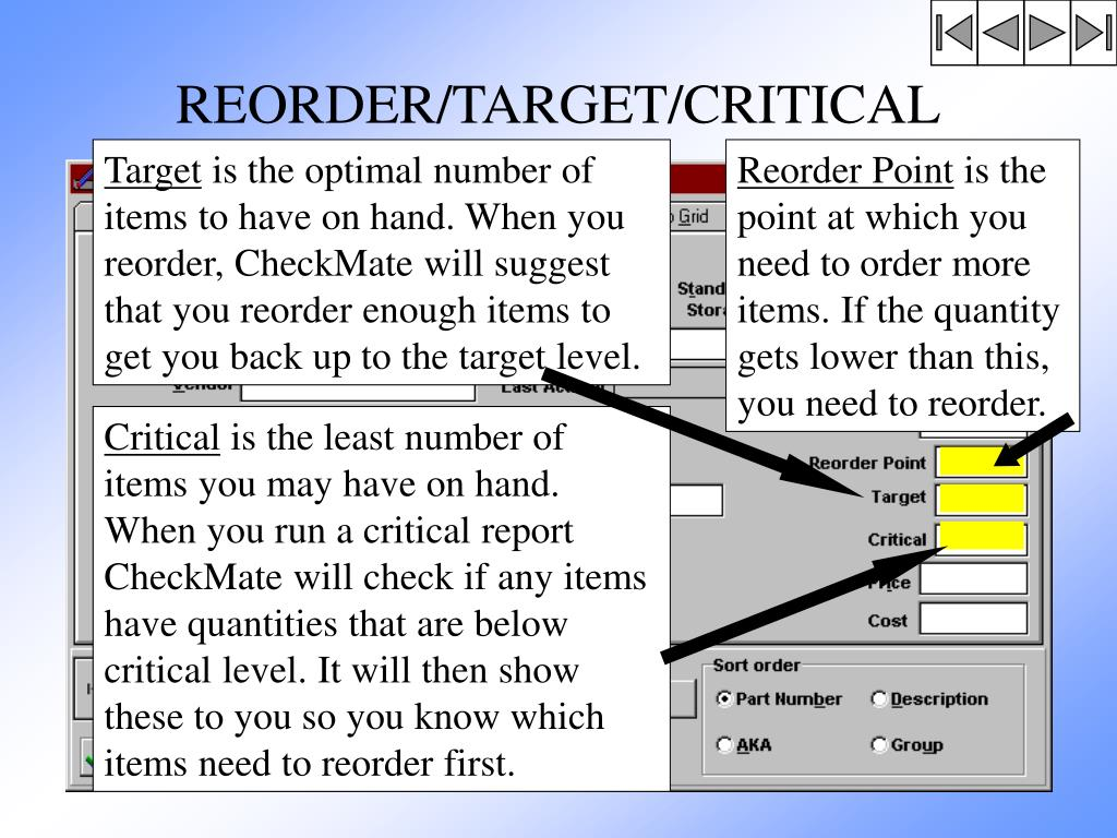 REORDER/TARGET/CRITICAL