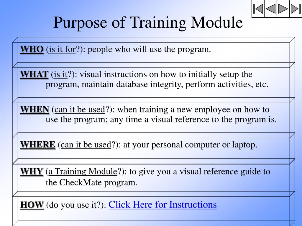 Purpose of Training Module