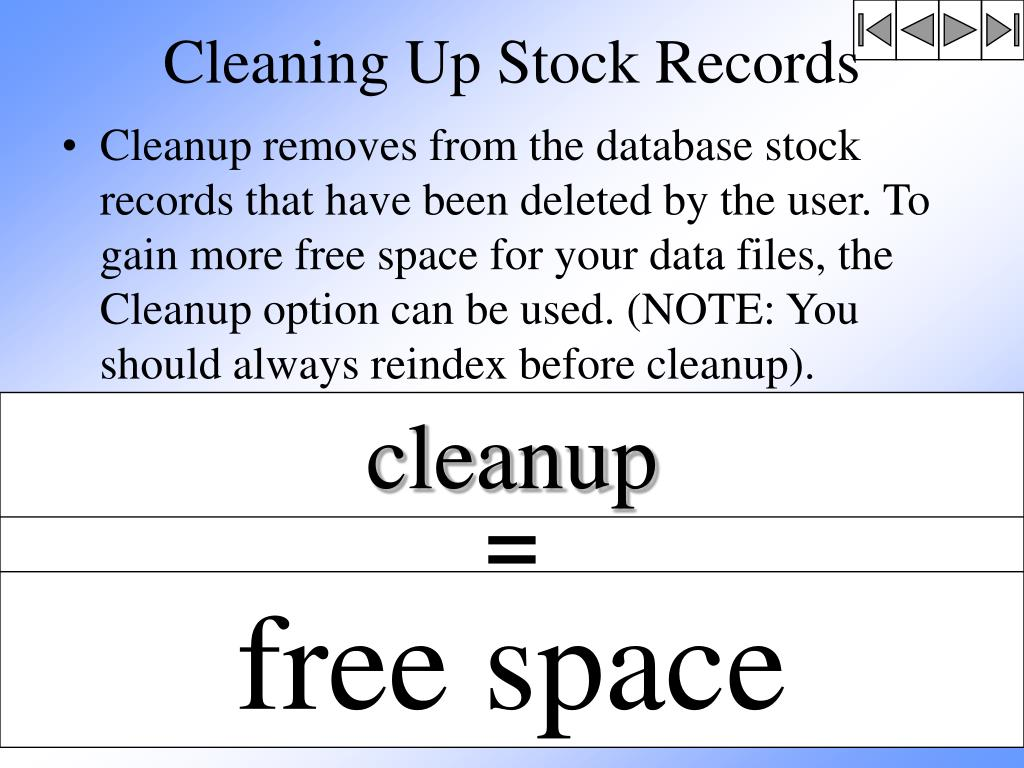 Cleaning Up Stock Records