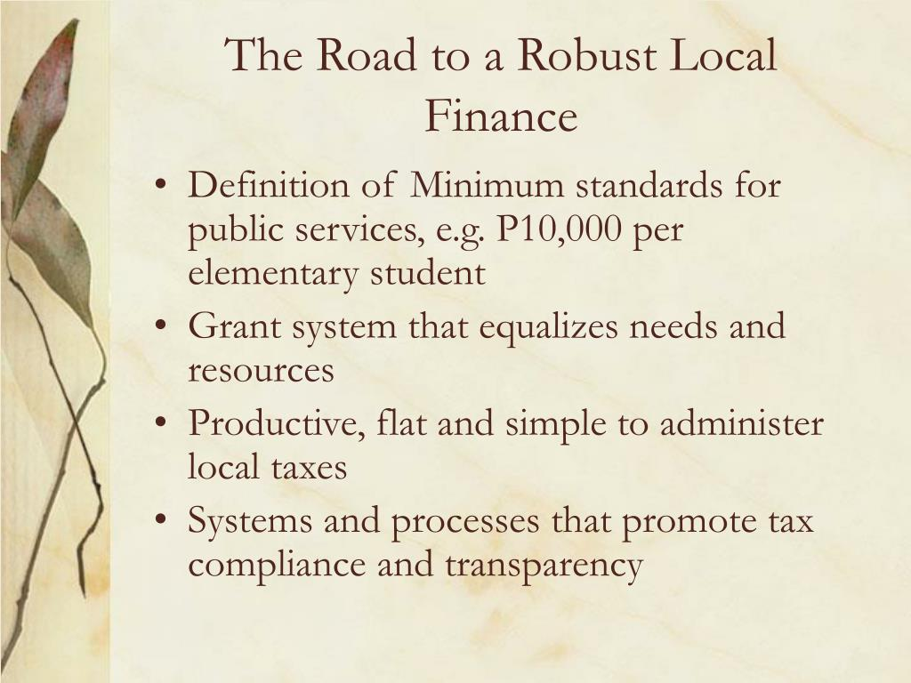 The Road to a Robust Local Finance