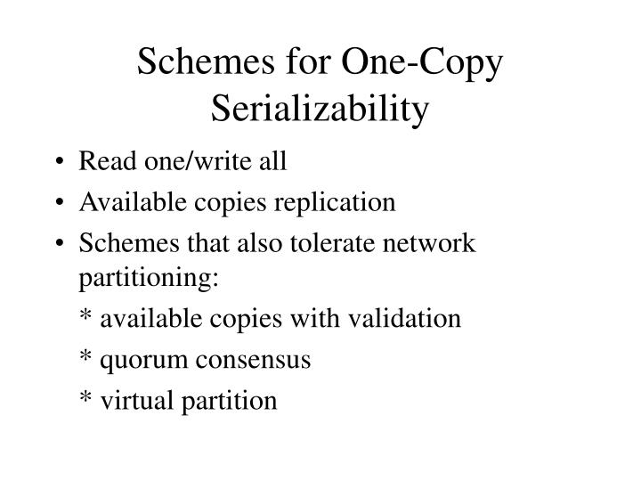 Schemes for One-Copy Serializability