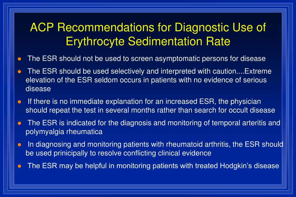 ACP Recommendations for Diagnostic Use of Erythrocyte Sedimentation Rate