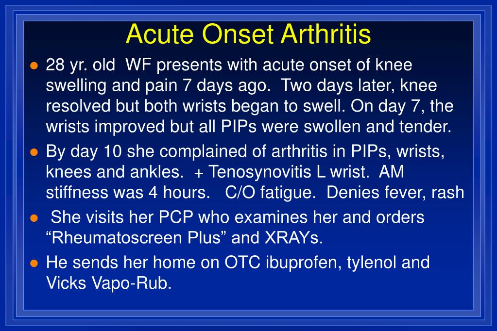 Acute Onset Arthritis