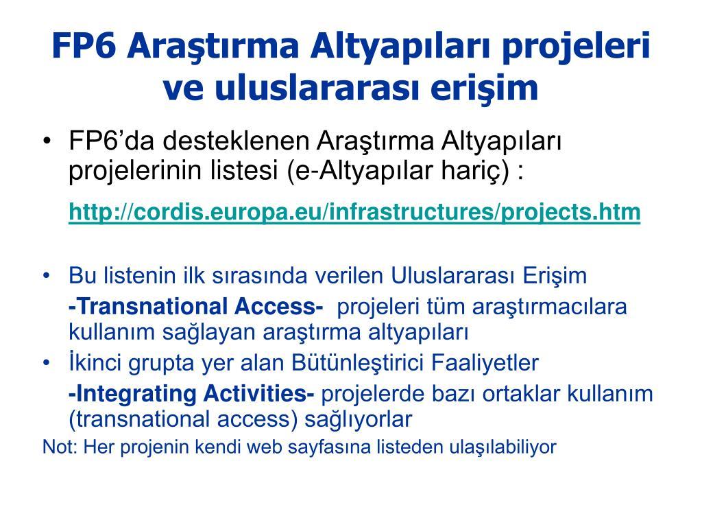 FP6 Araştırma Altyapıları projeleri ve uluslararası erişim