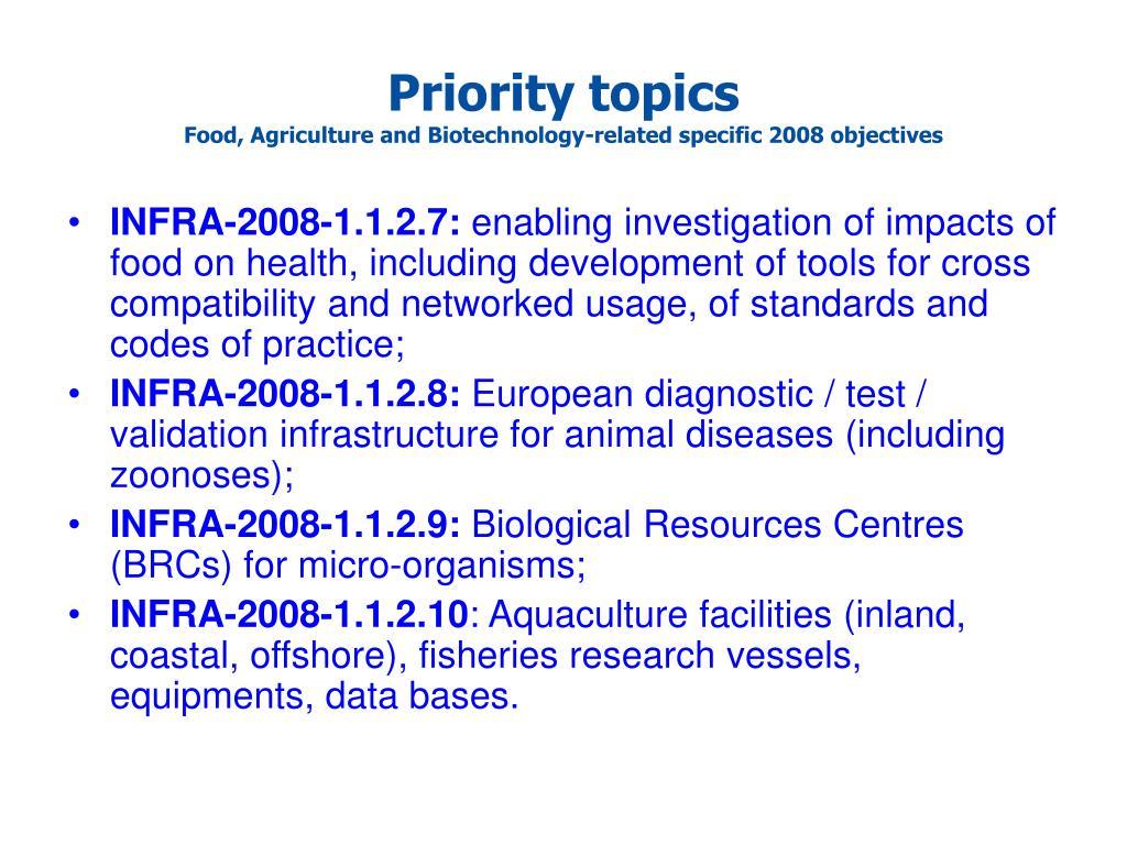 Priority topics