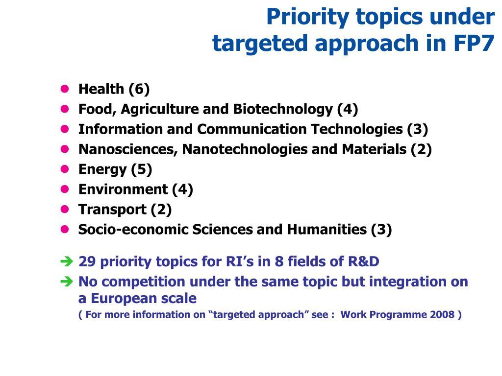 Priority topics under