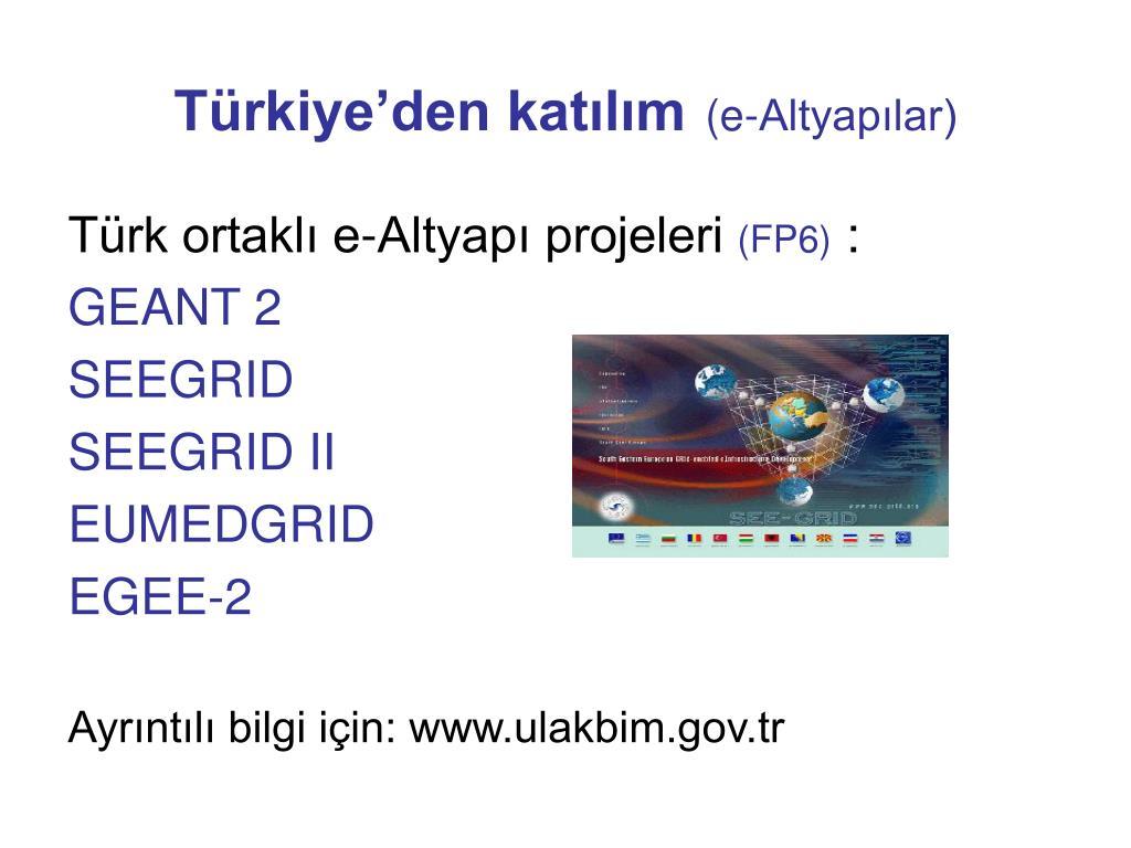 Türkiye'den katılım