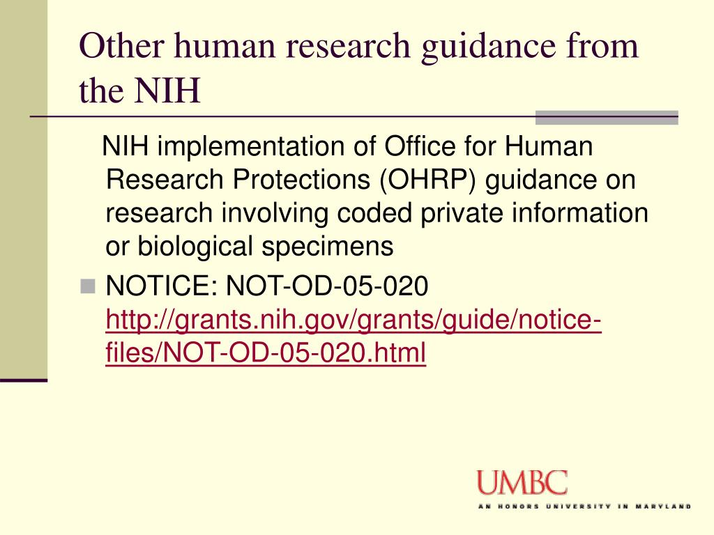 Other human research guidance from the NIH