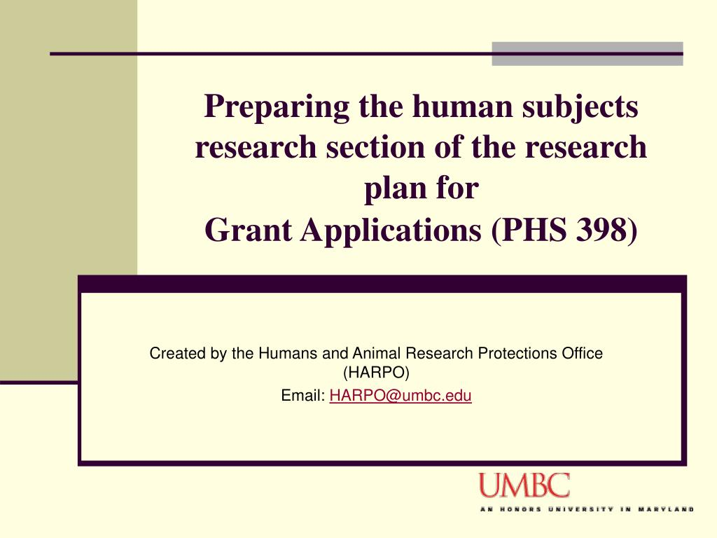 preparing the human subjects research section of the research plan for grant applications phs 398
