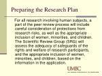 preparing the research plan6