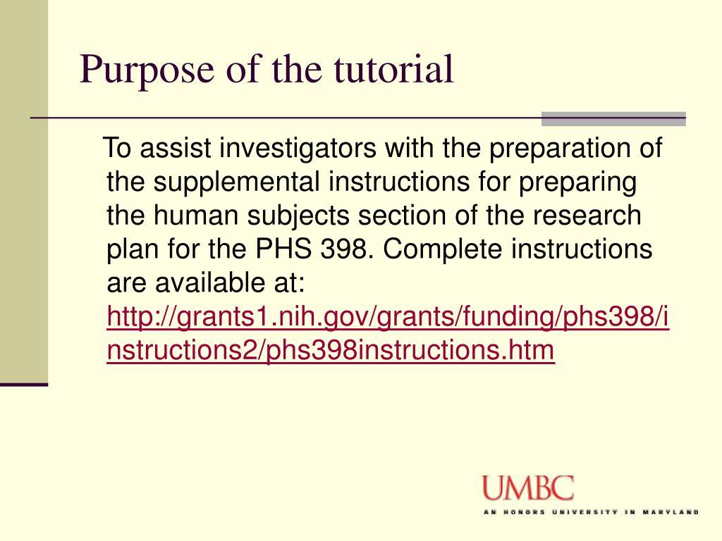 Purpose of the tutorial